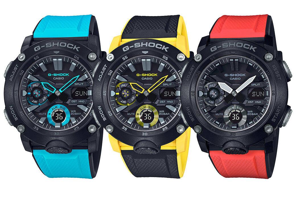 b52412cd4adc3d Nowe zegarki G-SHOCK GA-2000: analogowo-cyfrowa seria z kopertą z włókna  węglowego i kolorowymi paskami   PANCERNE mobilne