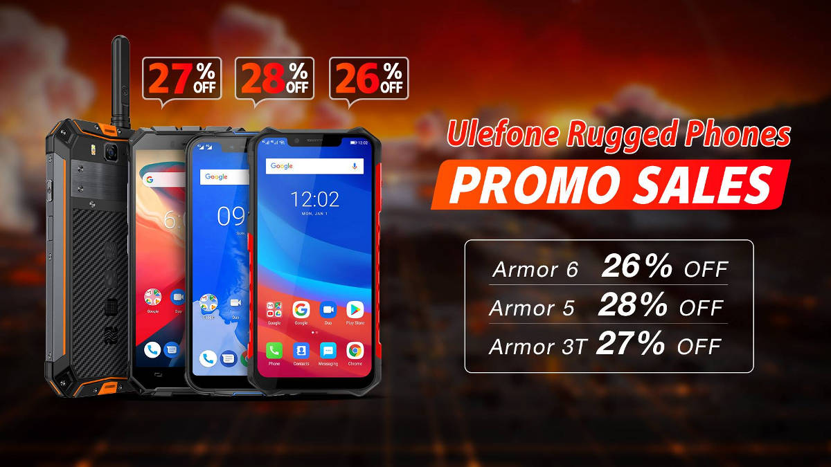 Duże promocje Ulefone na Armor 6, Armor 5 i Armor 3T