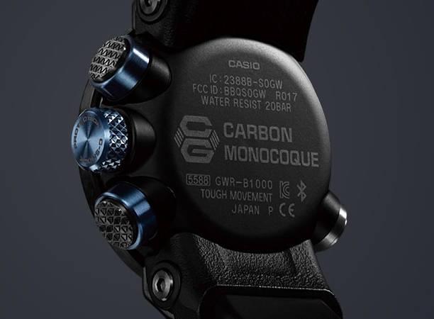 19d9e9cd5741c0 W zegarku G-SHOCK Gravitymaster GWR-B1000 z włókna węglowego wykonano  zarówno kopertę o wymiarach 50,1 x 46,4 x 16,9 mm, jak i pasek.